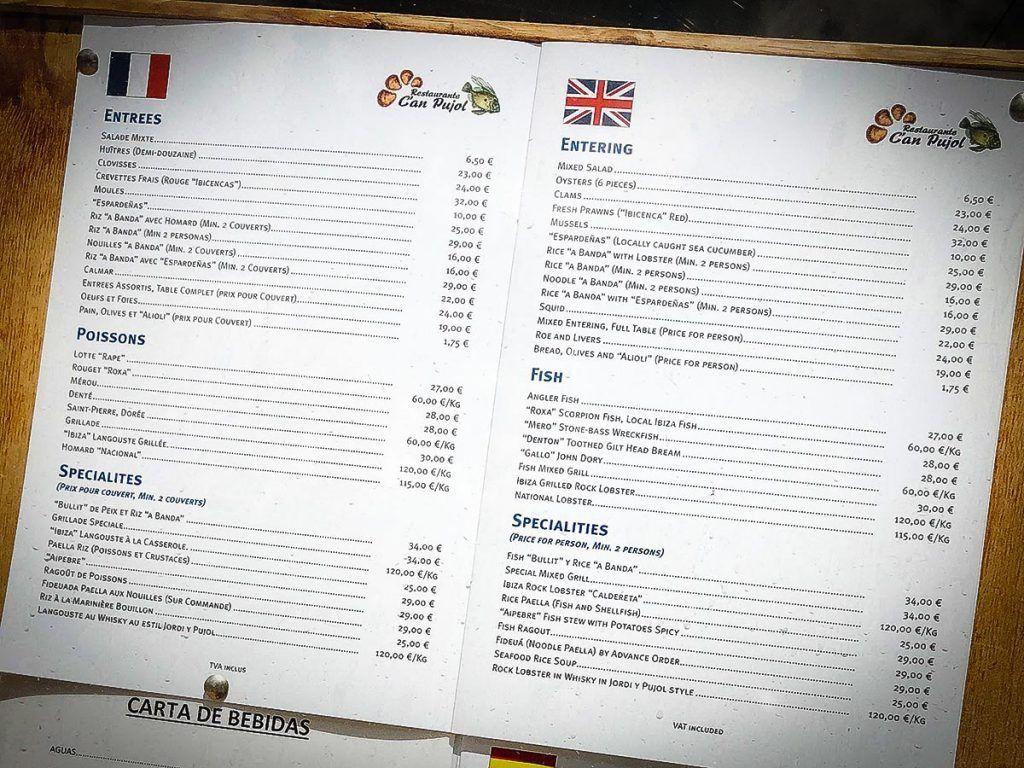 can pujol menu ibiza