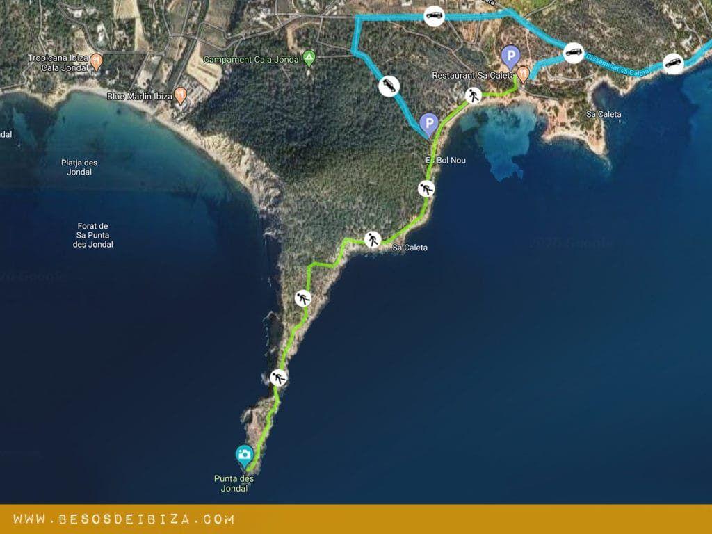 punta des jondal geheime route weg wandelen ibiza